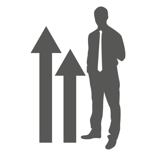 Businessman standing growing graph icon Transparent PNG