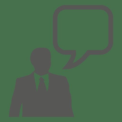 Icono de burbuja de texto de empresario