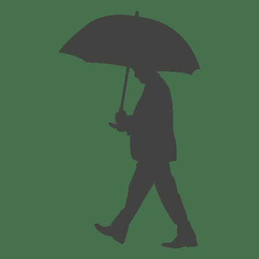 Businessman walking with umbrella Transparent PNG