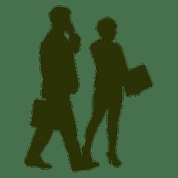 Kaufmann mit Assistent Silhouette