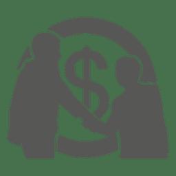 Empresarios reunidos con moneda detrás