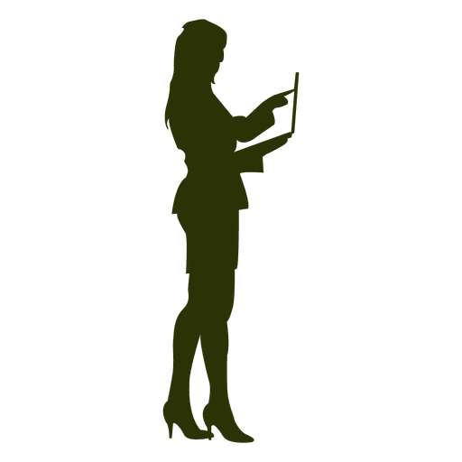 Executiva, com, laptop, silueta Transparent PNG