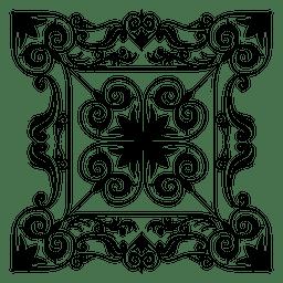 Calligraphic floral rectangle decoration
