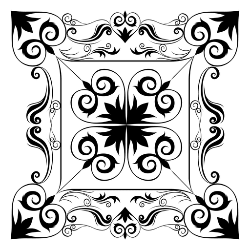 Calligraphic floral rectangle decoration Transparent PNG