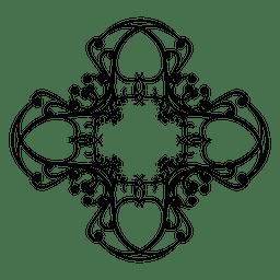Quadro de ornamento arredondado caligráfico 3