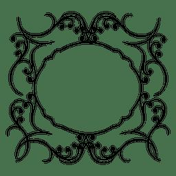 Calligraphic swirls round frame 2