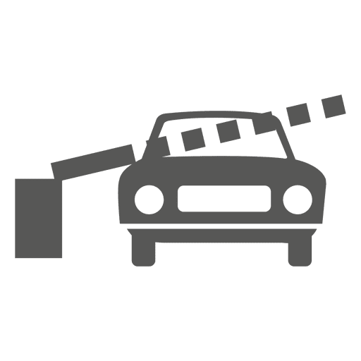 Car in toll barrier icon