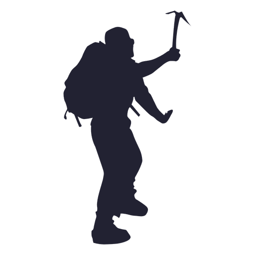 Climbing mountain silhouette 1 Transparent PNG