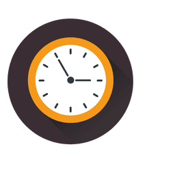 Flat clock circle icon logo