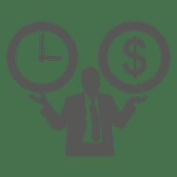 Reloj dólar en manos del empresario.