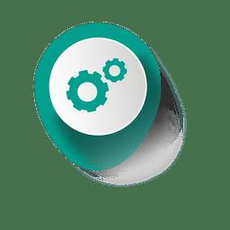 Cogwheel elíptica pegatina infografía