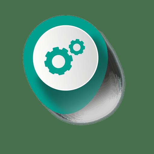 Cogwheel elliptical sticker infographic Transparent PNG