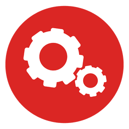 Cogwheels red circle icon