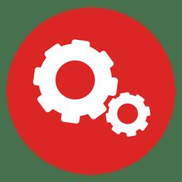 Icono de círculo rojo ruedas dentadas
