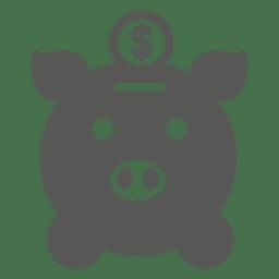 Moneda insertando el icono de banco de cerdo