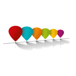 Diagrama de infografía globos de colores