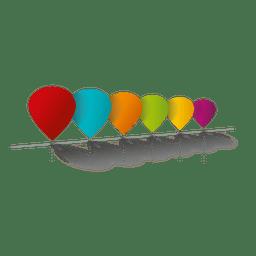 Diagrama de infográfico de balões coloridos