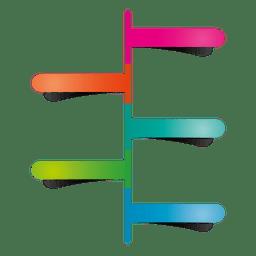 Diagrama de ponteiro adesivo colorido