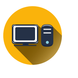 Computer circle icon with drop shadow