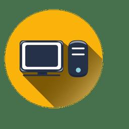 Icono de círculo de computadora con sombra