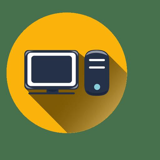 Ícone de círculo de computador com sombra Transparent PNG
