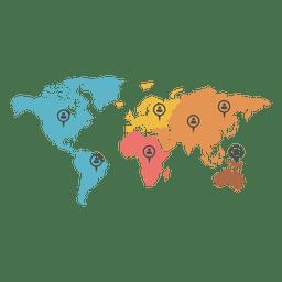 Mapa do mundo de marcador de agente continental