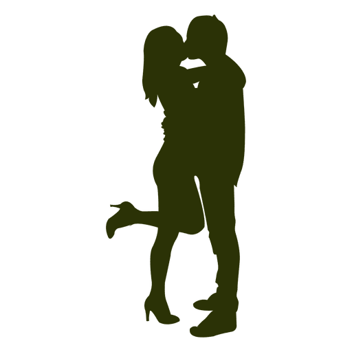 Couple kissing silhouette 7 Transparent PNG