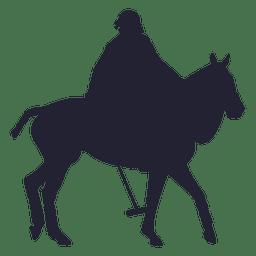Vaqueiro, montando, cavalo, silueta