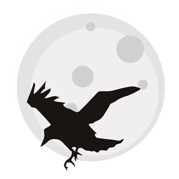 Crow and moon cartoon
