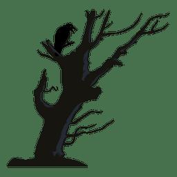 Corvo na árvore curvada