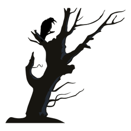 Cuervo en el árbol torcido