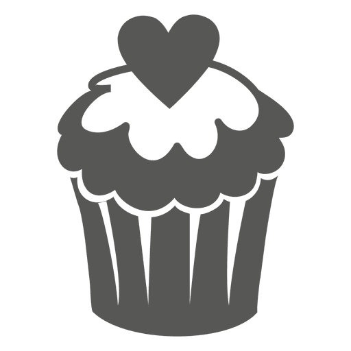 Cup cake with heart Transparent PNG