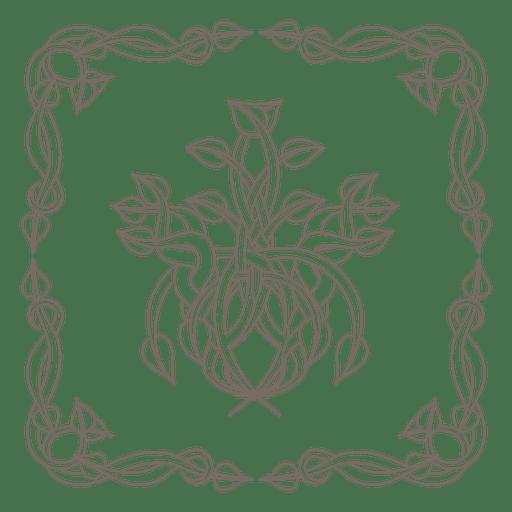 Curly ornamented floral border corner