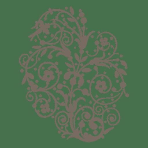 Remolinos rizados con decoración floral. Transparent PNG
