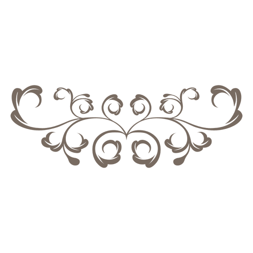 Curly swirls ornamented floral png