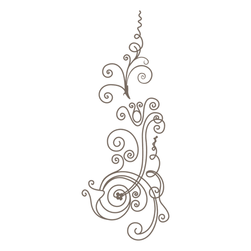 Curvy lines floral ornament png