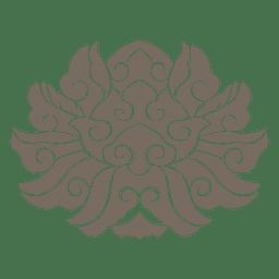 Ornamento floral con remolinos con curvas