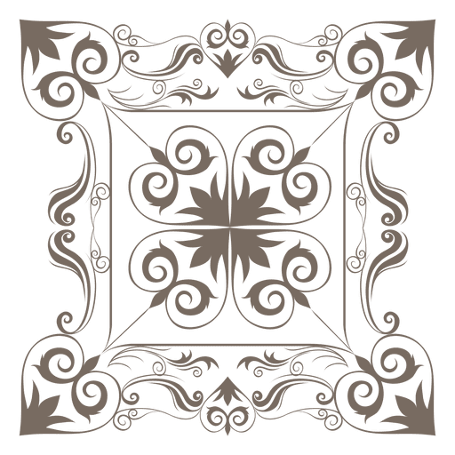 Decorative floral square corner Transparent PNG