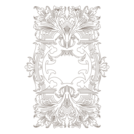 Borde decorativo de remolinos florales. Transparent PNG