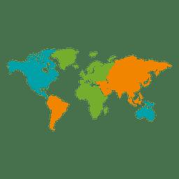 De diferentes colores mapa del mundo continental