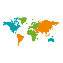 Different colored continental world map
