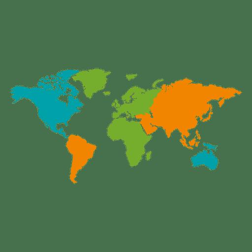 Mapa del mundo continental de diferentes colores Transparent PNG