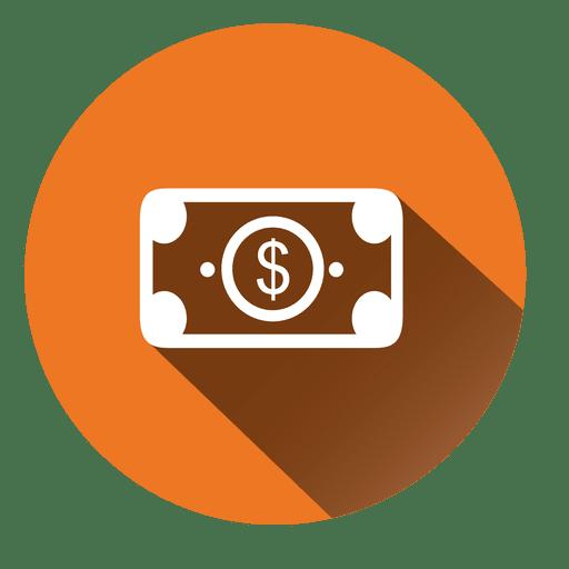 Icono de círculo de billete de dólar