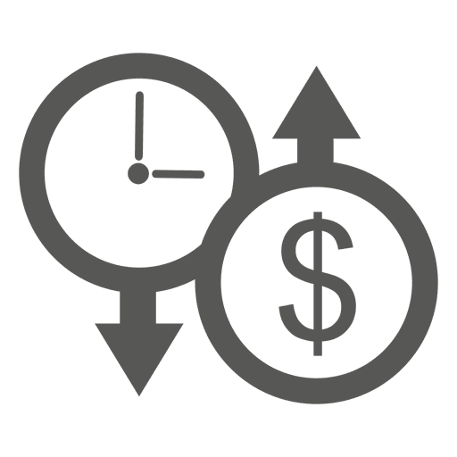 Down clock up dollar icon - Transparent PNG & SVG vector