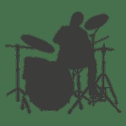 Silhueta de músico de baterista