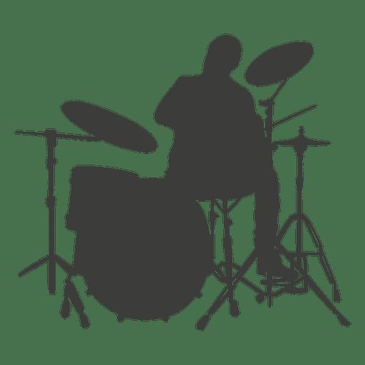 Silueta del músico baterista Transparent PNG