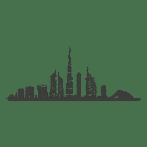 Silhueta do horizonte de Dubai