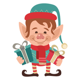Elfos sosteniendo regalos