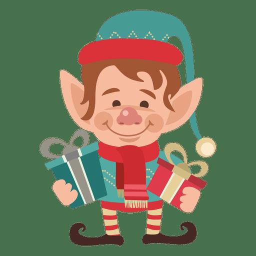 Elfos sosteniendo regalos Transparent PNG