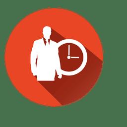 Executivo com ícone de relógio